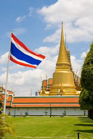 The temple in the Grand palace area, one of the major tourism attraction in Bangkok, Thailand photo