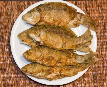 Fried fish in plate Stock Photo - 5880574