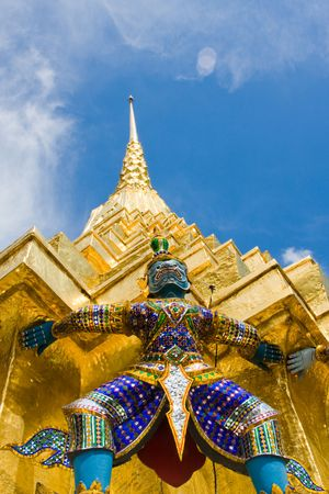 The temple in the Grand palace area in Bangkok, Thailand photo