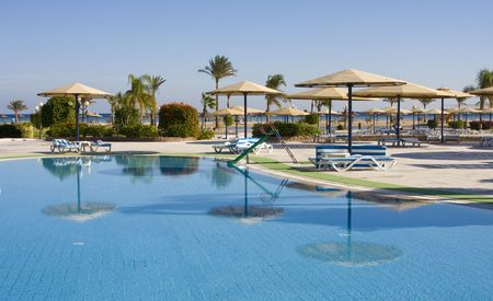 hurghada: Swimming pool on a sunny day. Hurghada city in Egypt.