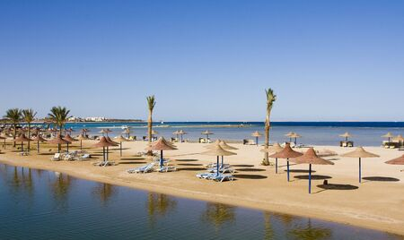 hurghada: Beach on a sunny day. Hurghada city in Egypt. Stock Photo
