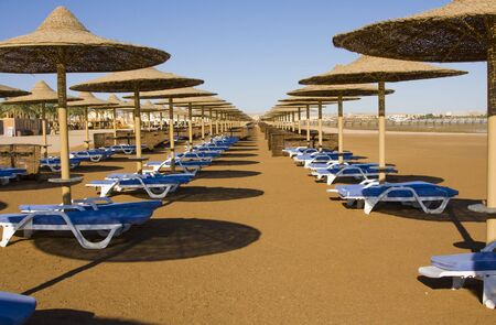 Beach on a sunny day. Hurghada city in Egypt. photo