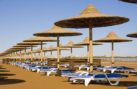 Beach on a sunny day. Hurghada city in Egypt. Stock Photo - 6380436