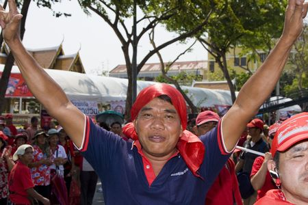 converged: BANGKOK , THAILAND - MARCH 13: Thousands of red-shirted, anti-government demonstrators converged on the Thai capital vowing to oust the government in a mass. March 13, 2010 in Bangkok, Thailand.