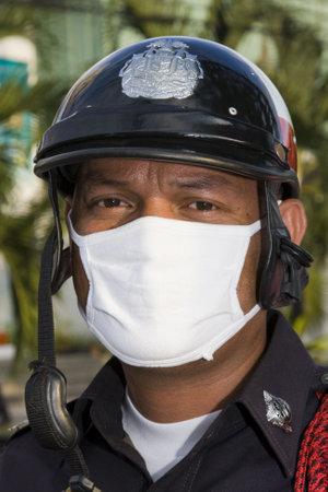 BANGKOK - MAY 04: Policemen protect government buildings during anti government Solidarity demonstration on May 04, 2010 in Bangkok, Thailand.  Stock Photo - 9601133