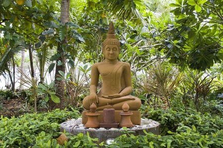 venerate: Stone statue of Buddha  Stock Photo