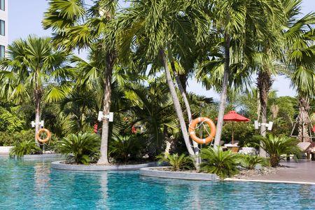 Beautiful swimming pool at an Asian resort. photo