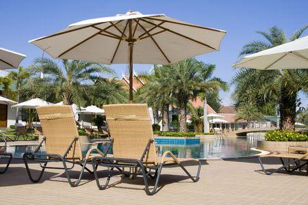 Beautiful swimming pool at an Asian resort.