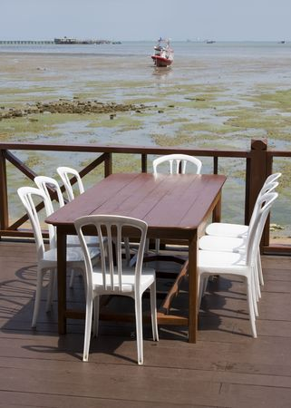 Table with a beautiful sea view  photo