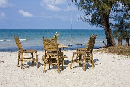 Beautiful tropical beach in Cambodia .  Stock Photo