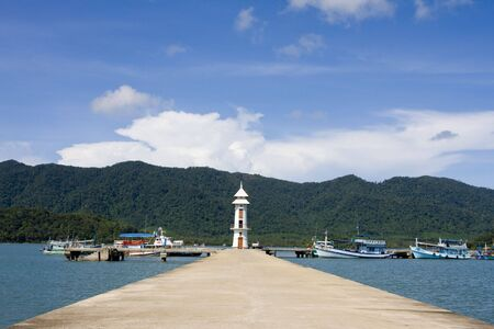 White lighthouse in bay on Koh Chang island, Thailand . Stock Photo - 7787508