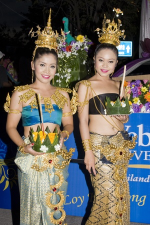 HUA HIN, THAILAND - NOVEMBER 21: Thai girls during the biggest holiday water festival Loy Krathong. November 21, 2010 Hua Hin, Thailand.