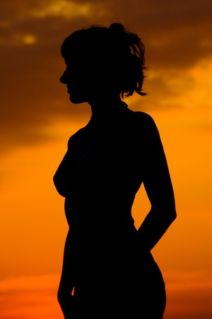 mind set: Girl in sunset  Stock Photo