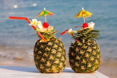 beach drink: Tropical pineapple cocktail