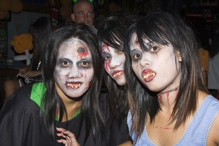 PATTAYA , THAILAND - OCTOBER 31 : Thai girls celebrates Halloween on October 31, 2010 in Pattaya, Thailand. Halloween has become popular in Thailand in recent years .