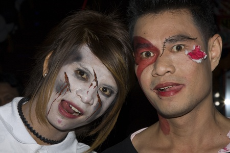 PATTAYA , THAILAND - OCTOBER 31 : Thai people celebrate Halloween on October 31, 2010 in Pattaya, Thailand. Halloween has become popular in Thailand in recent years .