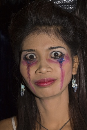 PATTAYA , THAILAND - OCTOBER 31 : Thai girl celebrates Halloween on October 31, 2010 in Pattaya, Thailand. Halloween has become popular in Thailand in recent years .  Editorial