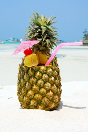 pineapple slice: Tropical pineapple cocktail