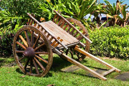 carreta madera: Carro de madera se levanta sobre hierba verde en el Parque Foto de archivo