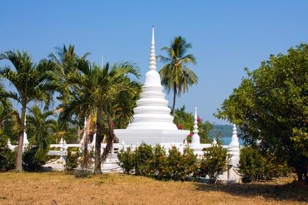 buddhist stupa: White buddhist stupa in island Koh Mak , Thailand