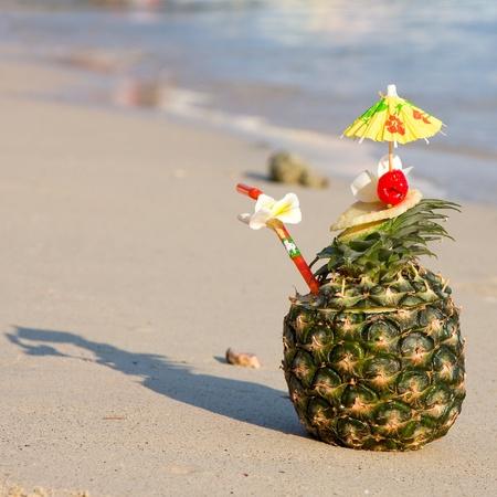 Tropical cocktail on the beach photo