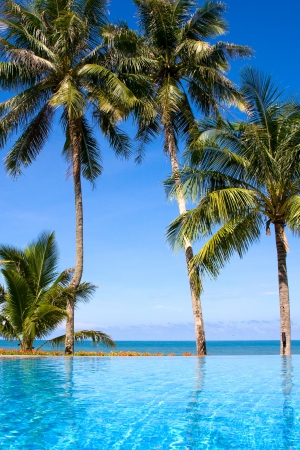pool deck: Tropical beach Stock Photo