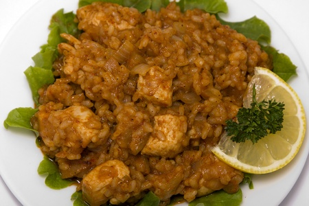 Chilli chicken masala curry with lemon rice photo