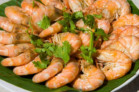 group of cooked orange shrimp in closeup photo
