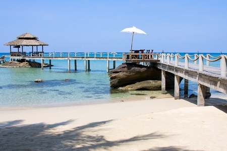 Wooden pier in tropical paradise , Koh Kood island , Thailand photo