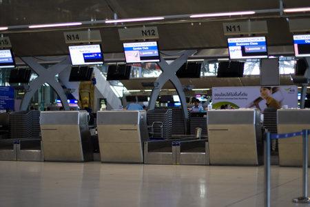BANGKOK - November 07: Check-in counters at Bangkoks new Suvarnabhumi Airport Nov 07, 2011 in Bangkok, Thailand.