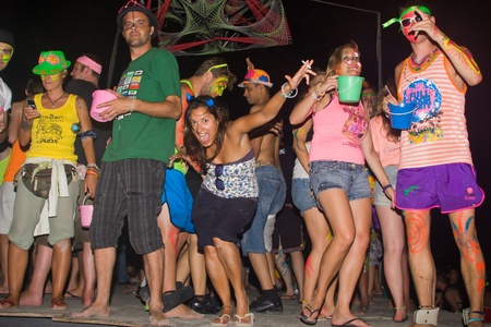 PHANGAN - DECEMBER 10 : There are about 10,000 people every month at this Phangan beach Full moon party, on December 10, 2011 in Koh Phangan , Thailand .