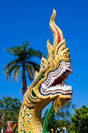 Dragon statue at a temple in Chiang Mai, Thailand photo