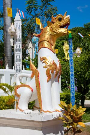 Dragon statue at a temple in Chiang Mai, Thailand