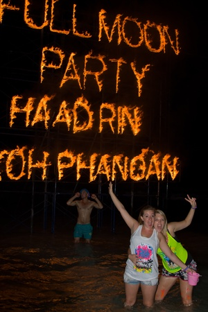 PHANGAN - JANUARY 08 : There are about 10,000 people every month at this Phangan beach Full moon party, on January 08, 2012 in Koh Phangan , Thailand .
