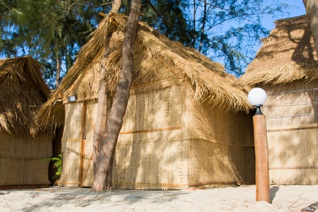 bungalows: Tropical house on the beach in Sihanoukville, Cambodia Editorial