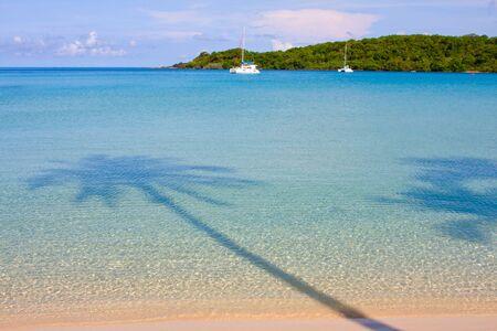 Palm trees shadow at the beach. Island Koh Kood, Thailand . photo