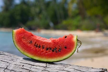 Juicy slice of watermelon against natural background photo