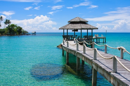 pavilion: Beautiful tropical beach in Koh Kood , Thailand Stock Photo