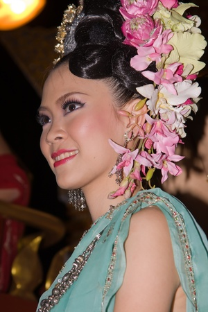 CHIANG MAI, THAILAND - NOVEMBER 11: Thai lady takes part in a parade of the Loy Krathong Festival in Chiang Mai, Thailand on November 11, 2011 Stock Photo - 13073396