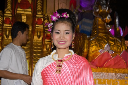 CHIANG MAI, THAILAND - NOVEMBER 11: Thai lady takes part in a parade of the Loy Krathong Festival in Chiang Mai, Thailand on November 11, 2011 Stock Photo - 13537780