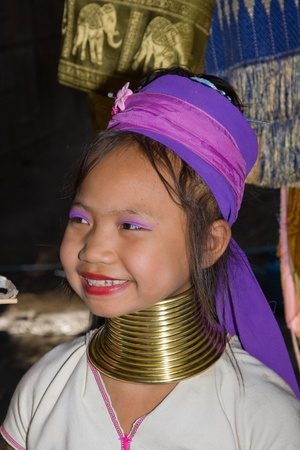 MAE HONG SON, THAILAND -NOVEMBER 12:Portrait of Karen long neck hill tribe girl at village,Ban Huay sue toa where tourist daily visiting in Mae Hong Son, Thailand on November 12, 2011