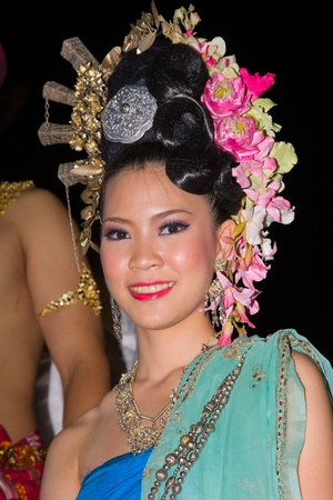 CHIANG MAI, THAILAND - NOVEMBER 11: Thai lady takes part in a parade of the Loy Krathong Festival in Chiang Mai, Thailand on November 11, 2011 Stock Photo - 13575276