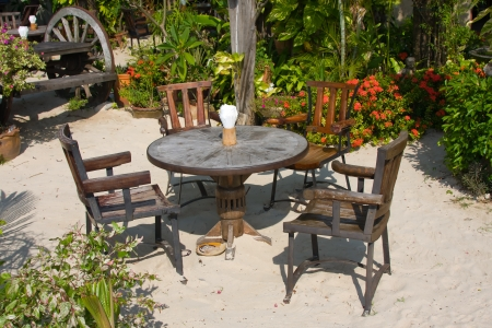 Table and chairs on the island Koh Samui, Thailand photo