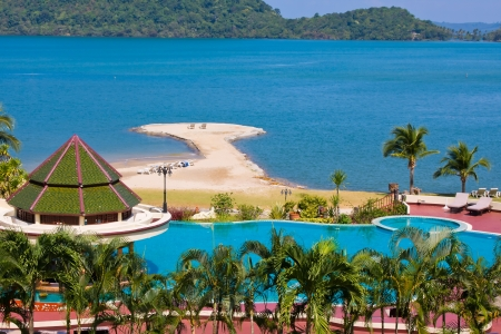 Swimming pool near the sea. Island Koh Chang, Thailand. Top view.