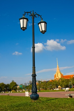 Lamppost in the park in Phnom Penh, Cambodia photo