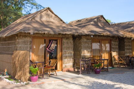 thatched house: Straw house on a beach in Cambodia