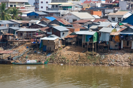 hovel: The poor area near the river in Phnom Penh, Cambodia
