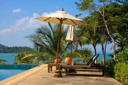 Swimming pool near the sea , Thailand.