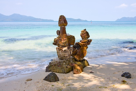 Stone sculpture on the island Koh Wai , Thailand   photo
