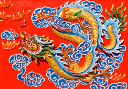 The nice dragon wall in chinese temple photo